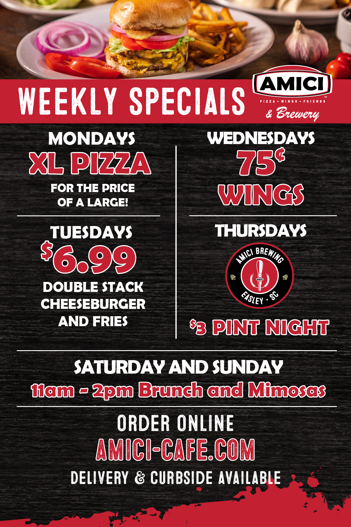 Amici Easley Specials Pizza and Wings
